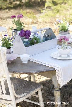 "Outdoor Table Setting w/ Old Tool Box & Flowers by ""Post Road Vintage."""