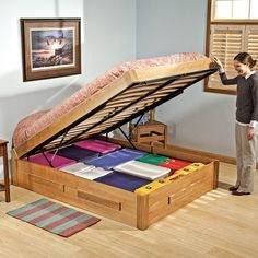 I-Semble Platform Bed Lift Mechanisms with Mattress Platforms and Wooden Slats