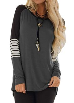 0fce424028 AMCLOS Womens Tops Striped T-Shirts Casual Blouses Pullover Lightweight  Tunic Long Sleeve price($): 9.99~ brand: AMCLOS ,sold by AMCLOS 4 out of 5  stars via ...