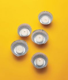 Foil cupcake liners make great candleholders for tealights.