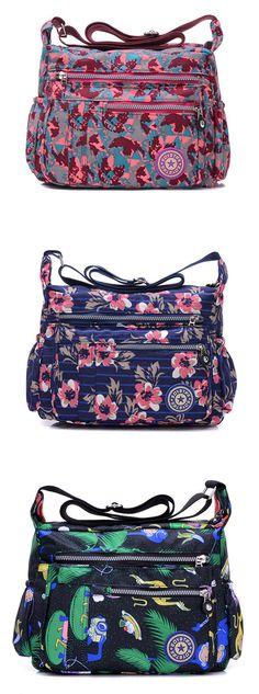 US$18.65 Women Nylon Casual Waterproof Multi-pocket Shoulder Bags Crossbody Bags