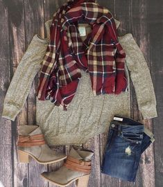 Cool fall days call for cold shoulder sweaters and a blanket scarf! Shop this look on gliks.com.