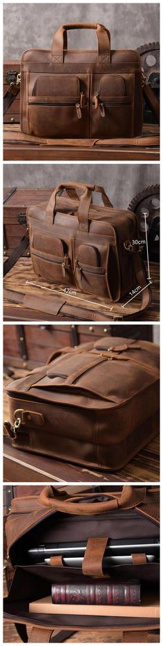Handmade Genuine Natural Leather Luggage Bag Travel Bag Laptop Bag Men's Briefcase MT07 Overview: Design: Vintage Leather Men Briefcase In Stock: 4-5 days For Making Include: Leather Briefcase and Adj