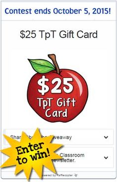 October 5th is Do Something Nice Day and Laura Candler is giving away a $25 TpT gift card! Click to find a nice freebie for this special day and enter the contest.