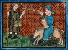 Aix-en-Provence - BM - Ms. 110 (Rés. ms. 43), f. 153 (the Pilgrim encounters Lust). Guillaume de Digulleville, Le Livre du pèlerin du corps ...