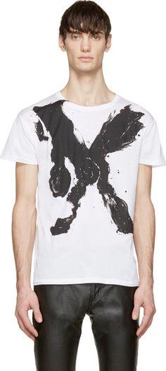 White & Black Mr. X Bruce Connor Edition T-Shirt - Saint Laurent