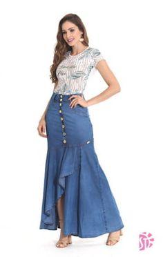 Denim Fashion, Girl Fashion, Fashion Dresses, Blouse And Skirt, Denim Skirt, Womens Denim Dress, Indian Designer Wear, Skirt Outfits, Creations