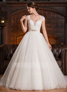 Ball-Gown Sweetheart Court Train Organza Lace Wedding Dress With Ruffle Beading Sequins (002056250) - JJsHouse