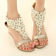 7d27ce7ab6f16 Women Wedge Shoes Rhinestone Zipper Pear Beaded Wedge Sandals