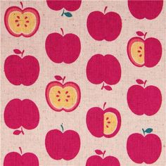 natural-colored fruit red apples Canvas fabric from Japan 1