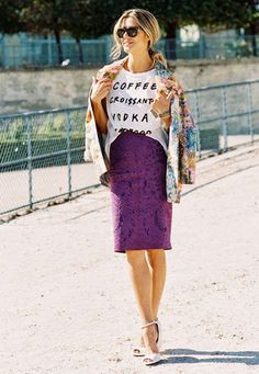 Dress down a colorful lace skirt with a printed tee and jacket