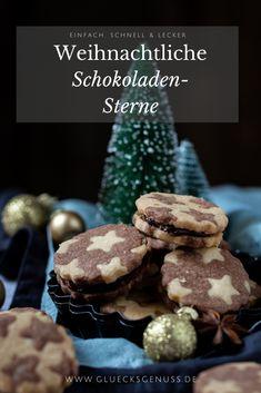 Diese weihnachtlichen Schokoladen-Sterne mit einer Schokoladencreme aus Haselnüssen sind wunderbar zart und saftig. Ein wundervolles Rezept für die Advents- Chocolate Stars, Christmas Chocolate, Christmas Cookies, Christmas Stars, Holiday, Party, Desserts, Decorating, Food