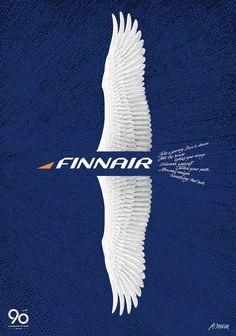 #Poster design by Erik Bruun for Finnair's 90 years...#airlines, #ads