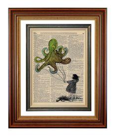 No 418 Windy Day and an Octopus Kite Original by AvantPrint, $7.00