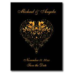 Ornate Gold Heart on Black Wedding Postcards