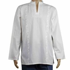 126ee8a701 White Summer Shirt Embroidered Kurta Indian Clothing for Men