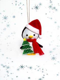 Penguin Christmas Tree Decorations Cute Little Penguin Handmade Felt Soft Toys Kawaii Holidays Home Decor Ornaments Christmas Baby Gift by BelkaUA on Etsy