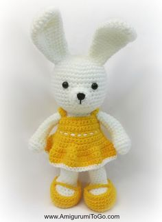 Bunny with Dress - Free Amigurumi Pattern and Video Tutorial here: http://www.amigurumitogo.com/2015/03/Spring-Time-Dress-Me-Bunny.html Dress and Shoes here: http://www.amigurumitogo.com/2015/03/Yellow-Spring-Dress-Easy-Crochet.html?utm_source=feedburner&utm_medium=feed&utm_campaign=Feed:+AmigurumiToGo+%28Amigurumi+To+Go!%29 thanks so xox freebies here:  ☆ ★   https://www.pinterest.com/peacefuldoves/