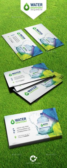 Buy Drinking Water Service Business Card Templates by grafilker on GraphicRiver. Drinking Water Service Business Card Templates Fully layered INDD Fully layered PSD 300 Dpi, CMYK IDML format open In. Printable Business Cards, Blank Business Cards, Business Card Design, Business Card Template Photoshop, Business Postcards, Visiting Card Design, Water Bottle Design, Green Business, Drinking Water