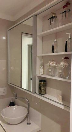 Like the idea is storage but think it'd get cluttered. Plus, if two ppl are getting ready, 1 person wouldn't have a mirror Rustic Bathroom Decor, Small Bathroom, Bathrooms Remodel, Serene Bathroom, Bathroom Decor, Bathroom Desing, Bathroom Design, Elegant Bathroom, Home Decor