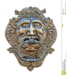 Medieval Door Knocker, Bronze Human Head Cutout Stock Photo - Image: 12281620
