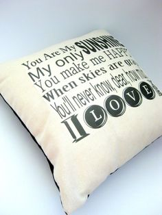You Are my Sunshine, Nursery Ryhme Pillow, Home Decor, Black and Cream, Envelope Back, 14X14, Shabby Chic, Cute, Gifts for her, Slipcover on Etsy, $14.00