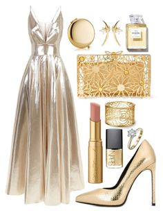 Gold gown by devonkathleenallen on Polyvore featuring polyvore fashion style La Mania Yves Saint Laurent Charlotte Olympia Wasson Fine Too Faced Cosmetics Estée Lauder NARS Cosmetics clothing RedCarpet godess