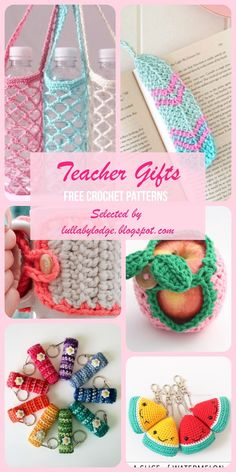 Terrific Teacher Gifts - Six Free Crochet Patterns - Quick and easy crochet patterns to make your children's teacher something fantastic. Small Crochet Gifts, Crochet Teacher Gifts, Unique Crochet, Cute Crochet, Crochet Top, Form Crochet, Easy Crochet Patterns, Thread Crochet, Knitting Patterns