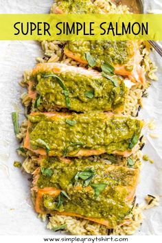Pesto salmon is the perfect 2 ingredient meal. Combine homemade or store bought pesto with a beautiful piece of fresh salmon for the ultimate simple meal. Serve with rice pilaf and your favorite veggie for a complete and healthy dinner. #pestosalmonrecipe #30minutemeal Easy Fish Recipes, Salmon Recipes, Baby Food Recipes, Pesto Salmon, Baked Salmon, Homemade Pesto, Homemade Baby Foods, Simple Meals, Easy Meals