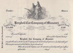 Bergdoll Car Company of MIssouri stock certificate