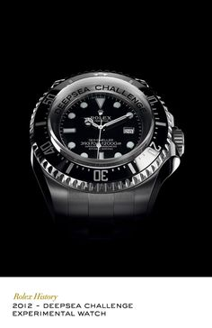 An experimental Rolex Oyster for diving at extreme depths, designed to resist the pressure 12,000 metres down. In March 2012, it descended to the deepest point in the ocean at the bottom of the Mariana Trench, attached to explorer and film-maker James Cameron's submersible.