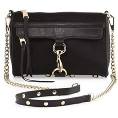 Rebecca Minkoff Mini MAC Calf Hair Crossbody Bag, Black $245