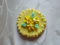 Hand-painted flower medallion sugar cookie in Yellow