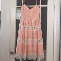 HP Peach & Lace Betsey Johnson Dress Gorgeous for summer, this dress is in excellent condition! I purchased to wear in a wedding later this year, but fear the bust is too small for my chest (I'm a 32D) the spaghetti straps are adjustable to give you the perfect fit! Willing to accept reasonable offers and to lower for discounted shipping days, just ask! Betsey Johnson Dresses