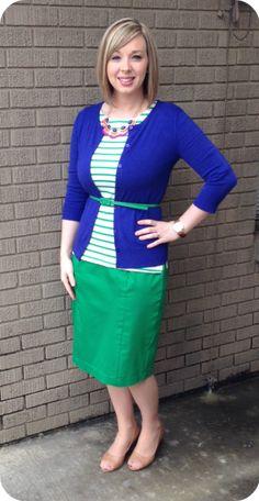 Green Stripes & Cobalt. Modern Modesty.