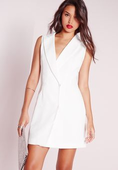 Missguided - Wrap Over Blazer Dress White  Very White dress with ruby woo or white long sleeve with cyber lip or wht dress with dark smokey eye