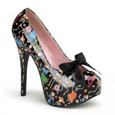 Muertos Day of the Dead Print Teeze Platform Pump - New at ShoeOodles.com Price: $80.00  This pump has a fun multi color print on a concealed platform that is 1 3/4 inches high and a 5 3/4 inch heel. All man made materials with padded insole and non-skid sole.  #gothic #fashion #steampunk