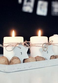 New takes on the traditional Advent Wreath. Celebrate Christmas with a new tradition and make your own DIY Advent wreath. Christmas Mood, Scandinavian Christmas, Noel Christmas, Christmas And New Year, Christmas Wreaths, Advent Wreaths, Christmas Candles, Handmade Christmas, Scandinavian Style