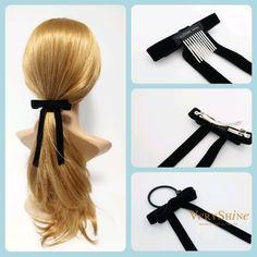 Velvet bow french barrette comb hair elastic stylish black velvet hair accessory for women #velvethairbow #velvetbow #veryshine #hairaccessory #style