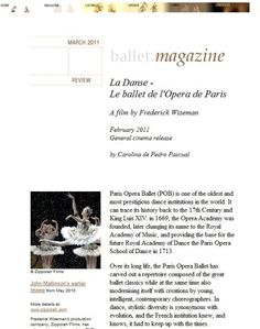 La danse. Le Ballet de L´Opéra de París.Colaboración para Ballet.co Magazine.    The Paris Opera Ballet is one of the oldest and most prestigious institutions in the world. It obtained its stamp of nobility from its creator, King Luis XIV of France, in the late 17th century. In 1669, the Opera Academy was founded, later changing its name to the Royal Academy of Music, and providing the base for the future Royal Academy of Dance the Paris Opera School of Dance (1713).