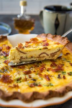 keto quiche sliced