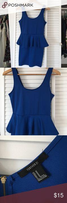 F21 Blue Body Con Peplum Dress Royal blue mini dress with peplum. Zips up the back. Bodycon. Worn in Vegas 🍾🎉 Size medium. Forever 21 Dresses Mini