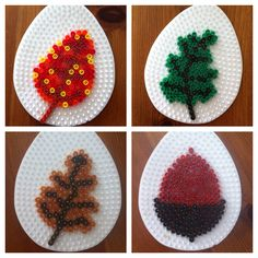 Hama Bead Autumn Leaves via @merrilyme