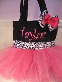Gonna have to get this for baby Eden...Mini Tutu Tote bag  Personalized Dance bag with by gkatdesigns, $19.00
