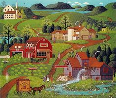 The red and white Burma Shave sign can be seen roadside in the distance in Charles Wysocki's Legacy Print BURMA ROAD, done in his primitive Americana style. Henri Rousseau, Illustrator, Country Art, Naive Art, Farm Life, Oeuvre D'art, American Art, Home Art, Illustration Art