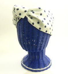 Vintage Wicker Head - Hat or Wig Display Stand - Blue Coated Vinyl