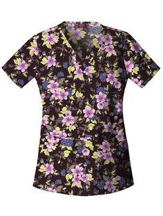 Dropped Waist V-Neck Top 'Spring Blossom' Womens Scrubs, Spring Blossom, Spring Tops, Scrub Tops, Drop Waist, V Neck Tops, Extra Storage, Darts, Men Casual