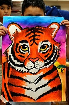 Painting lessons, painting for kids, tiger painting, art for kids, ar Art Lessons For Kids, Art Lessons Elementary, Art For Kids, Tiger Painting, Painting For Kids, Painting Lessons, Painting Art, Paintings, Art Drawings For Kids