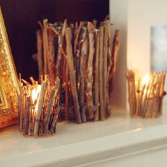 100 Cheap and Easy Fall Decor DIY Ideas - Prudent Penny Pincher Fall Wood Crafts, Autumn Crafts, Nature Crafts, Twig Crafts, Decor Crafts, Fall Projects, Diy Projects, Rustic Fall Decor, Rustic Mantel