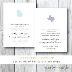 States Collection | Will you Be My Bridesmaid | Maid of Honor | Personalized and Printed by Darby Cards on Etsy, $3.00